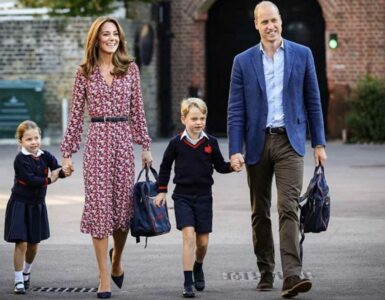 The Cambridges on their way to school